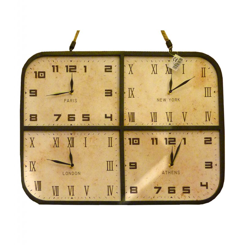 Vintage μεταλλικό Ρολόι τοίχου XL με τέσσερα ταμπλό