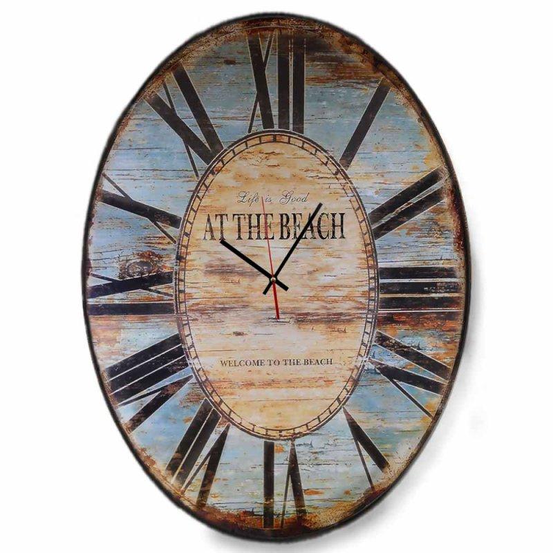 Vintage - Οβάλ χειροποίητο ξύλινο ρολόι  Life is Good