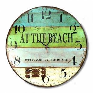 Vintage Στρογγυλό Ξύλινο Χειροποίητο Ρολόι 48cm Life at the beach