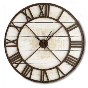 Vintage Στρογγυλό Ξύλινο Χειροποίητο Ρολόι τοίχου - Metallic Skeleton