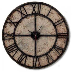 Vintage - Στρογγυλό ρολόι τοίχου Χειροποίητο Timeworn Map