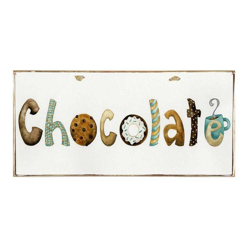 Ξύλινος Ρετρό Πίνακας Χειροποίητος 'Chocolate'