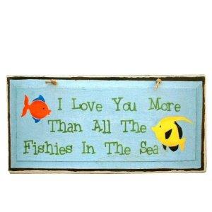 Ξύλινος Ρετρό Πίνακας Χειροποίητος 'I love you more than all the fishies in the sea'