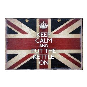 Ξύλινος Ρετρό Πίνακας Χειροποίητος Keep Calm and Put the Kettle On  21cm X 30cm