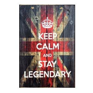 Ξύλινος Ρετρό Πίνακας Χειροποίητος Keep Calm And Stay Legendary  21cm X 30cm