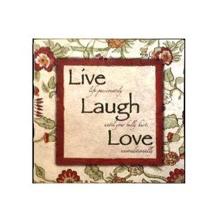 Ξύλινος Ρετρό Πίνακας Χειροποίητος Live, Laugh, Love  21cm X 21cm