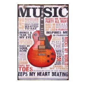 Ξύλινος Ρετρό Πίνακας Χειροποίητος Music