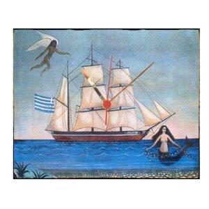 Θάλασσα -  Ρολόι τοίχου χειροποίητο ξύλινο
