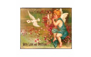 Vintage χειροποίητος πίνακας αγγελάκι με περιστέρι σε