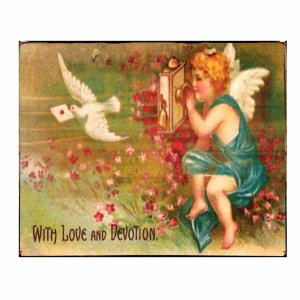 Vintage χειροποίητος πίνακας αγγελάκι με περιστέρι σε λιβάδι