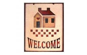 Welcome Χειροποιήτο Πινακάκι με σπιτάκι