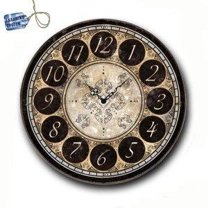 Vintage Ρολόι τοίχου Numbers - Ξύλινο Χειροποίητο 32cm