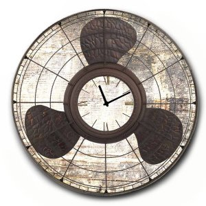 Vintage Ρολόι τοίχου Propeller - Ξύλινο Χειροποίητο 48cm