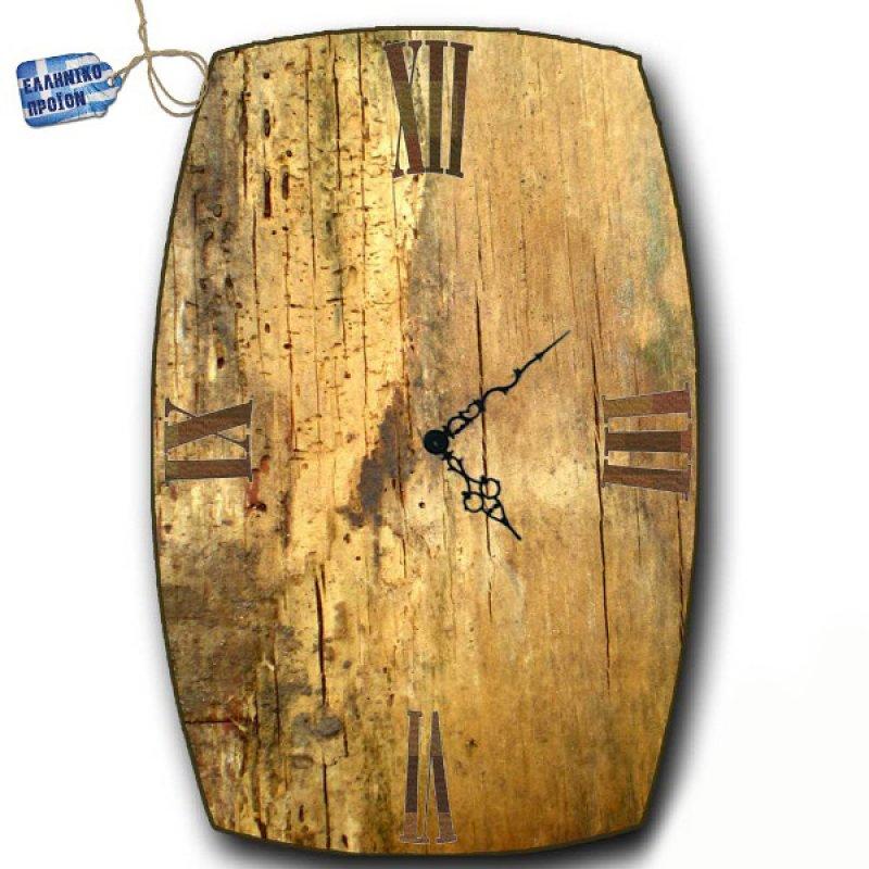 Vintage Ρολόι τοίχου Grunge Wood - Oval Ξύλινο Χειροποίητο 32X48cm