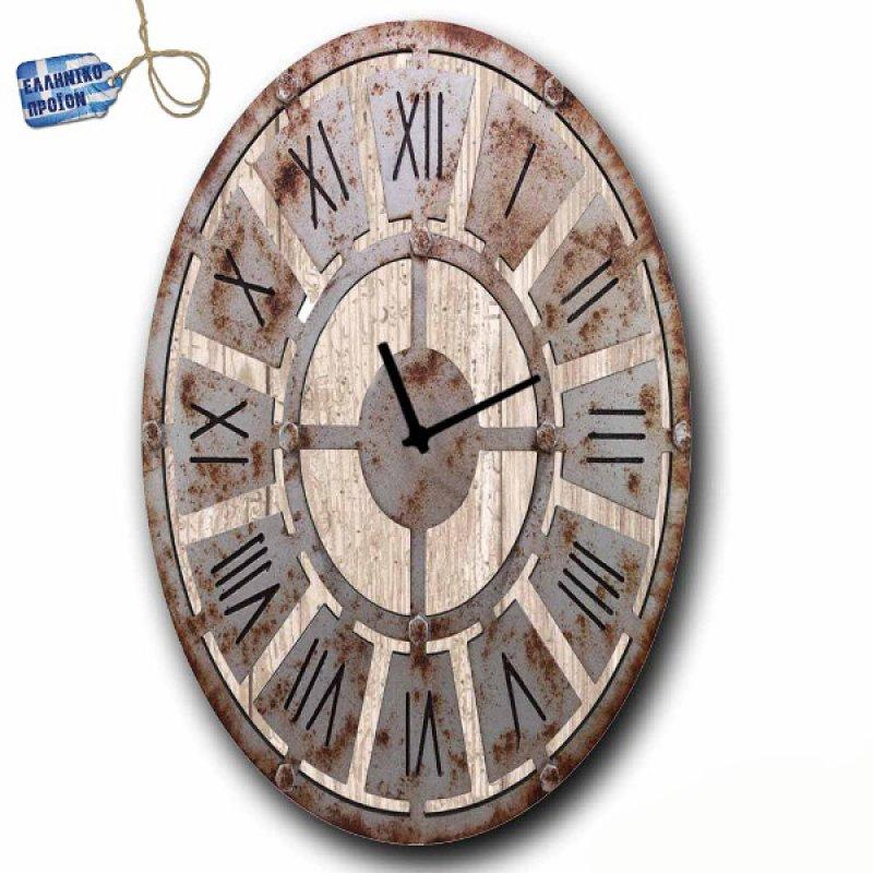 Vintage Ρολόι τοίχου Latin - Oval Ξύλινο Χειροποίητο 64X48cm