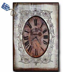 Vintage Ρολόι Τοίχου Café de Ville - Ξύλινο Χειροποίητο 32x48 cm