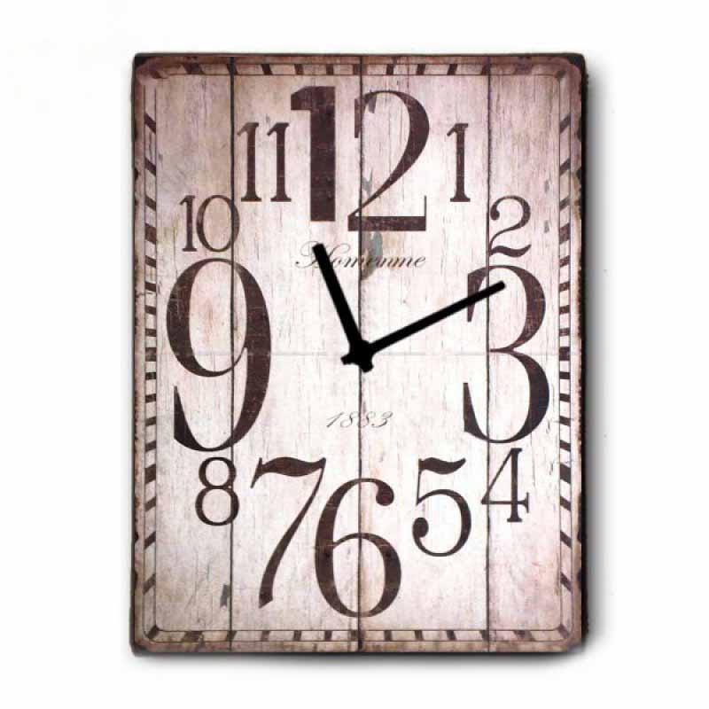 Vintage Ρολόι τοίχου 1883 - Ξύλινο Χειροποίητο 48X64cm