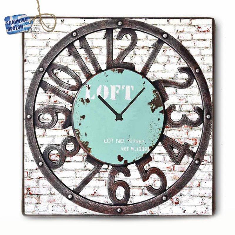 Vintage Ρολόι τοίχου Loft - Ξύλινο Χειροποίητο 48X48cm