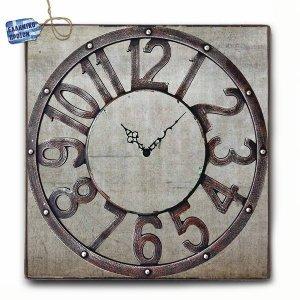 Vintage Ρολόι τοίχου Grunge - Ξύλινο Χειροποίητο 48X48cm