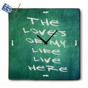 Vintage Ρολόι Τοίχου The loves of my life - Ξύλινο Χειροποίητο 48x48 cm