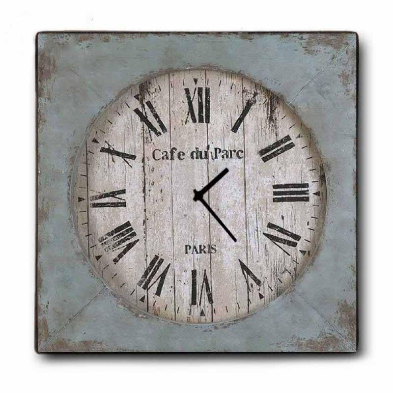 Vintage Ρολόι Τοίχου Café du Parc - Ξύλινο Χειροποίητο 48x48 cm