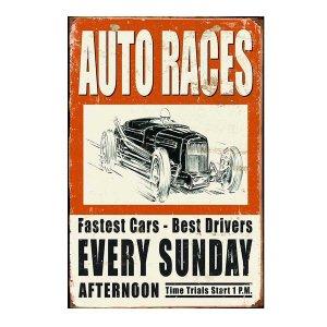 Auto Races -Vintage Ξύλινος  Πίνακας 20 x 30 cm