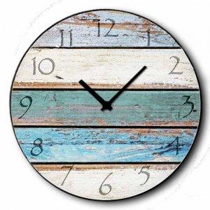 Beach deck - Ρολόι τοίχου Ξύλινο Χειροποίητο Στρογγυλό 48cm F4819