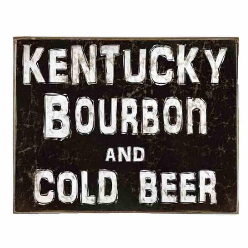 Bourbon and Beer -Vintage Ξύλινος  Πίνακας 20 x 25 cm