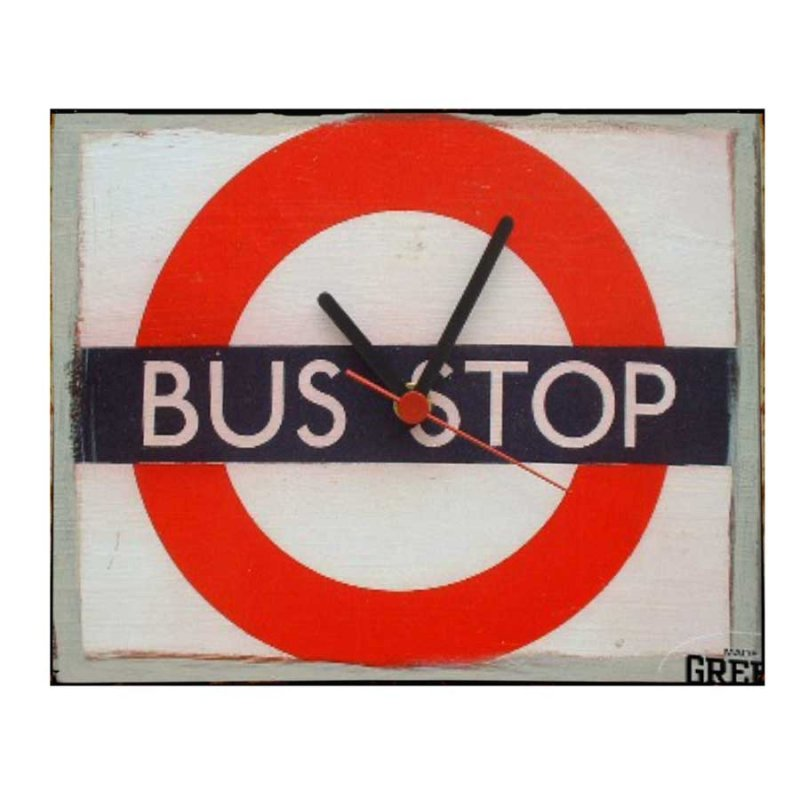 Bus Stop ρετρό ρολόι τοίχου χειροποίητο