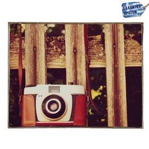 Camera -Vintage Ξύλινος  Πίνακας 20 x 25 cm