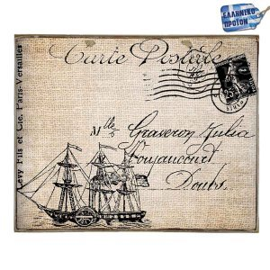 Carte Postale Vintage Ξύλινο Πινακάκι 20 x 25 cm
