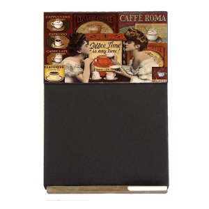 Coffee Time Vintage Ξύλινος Χειροποίητος Μαυροπίνακας 38 x 26 cm