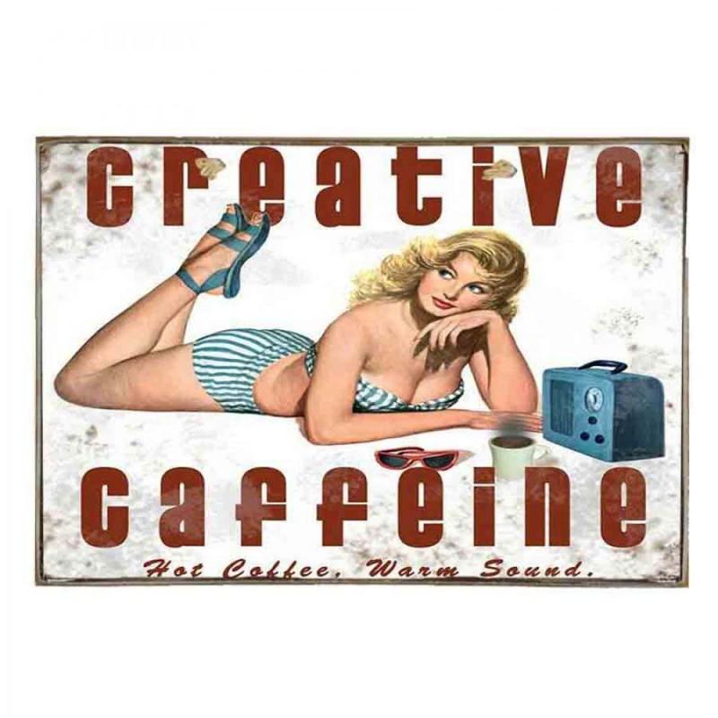 Creative Caffeine-Vintage Ξύλινος  Πίνακας 20 x 25 cm