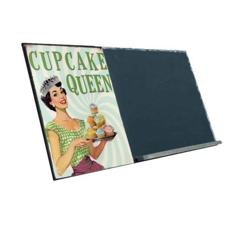 Cupcake Queen  Ξύλινος Χειροποίητος Μαυροπίνακας 38 x 26 cm