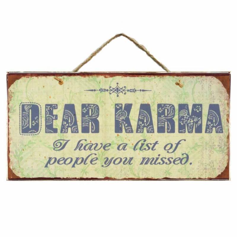 Dear Karma Ξύλινο Vintage Πινακάκι 13 x 26cm