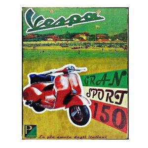 Διαφήμιση Vespa - Ρετρό Πίνακας Χειροποίητος