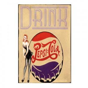 Drink Pepsi Cola -Vintage Ξύλινος  Πίνακας 20 x 30 cm