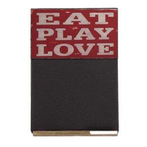 Eat, Play, Love  Ξύλινος Χειροποίητος Μαυροπίνακας 38 x 26 cm