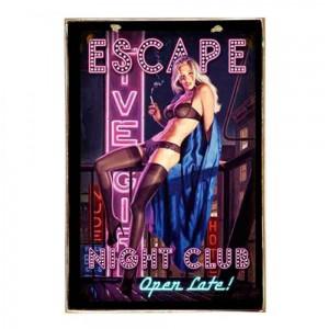 Escape Night Club Vintage Ξύλινο Πινακάκι 21 x 30 cm