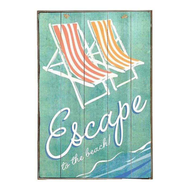 Escape to the beach Vintage Ξύλινο Πινακάκι 21 x 30 cm
