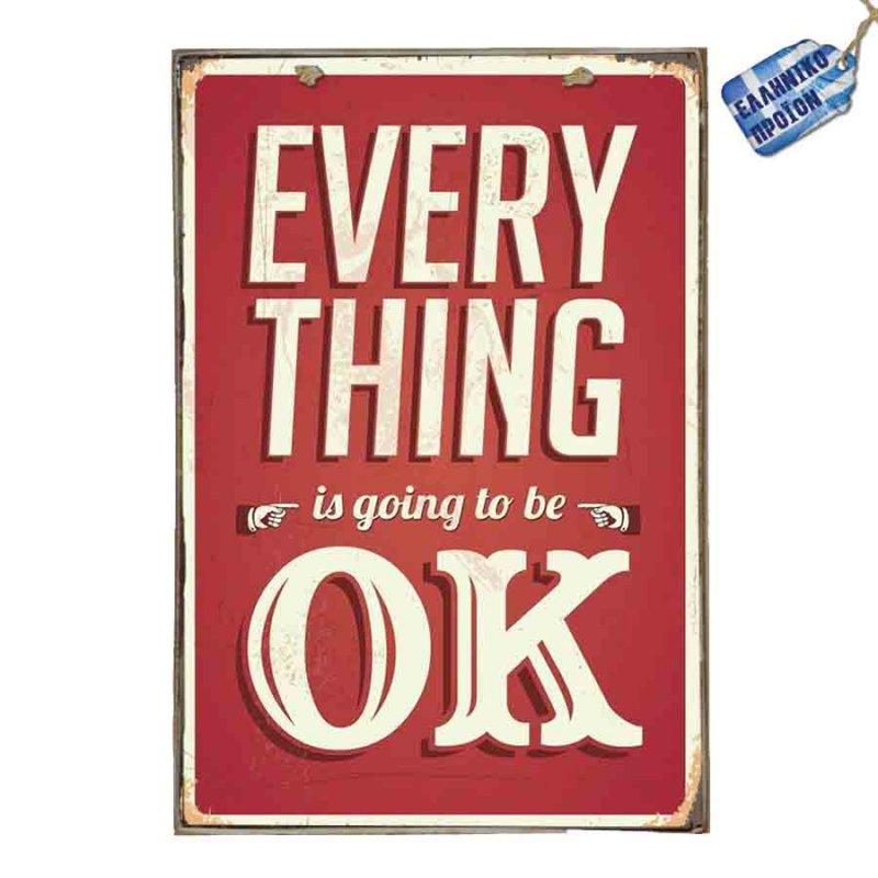 Everything Will be OK  Vintage Ξύλινο Πινακάκι 20 x 30 cm