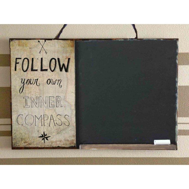 Follow Your Inner Compass  Ξύλινος Χειροποίητος Μαυροπίνακας 38 x 26 cm