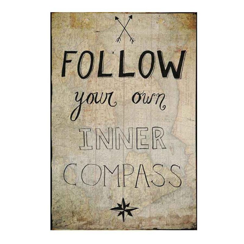 Follow your inner compass Vintage Ξύλινο Πινακάκι 21 x 30 cm 1753