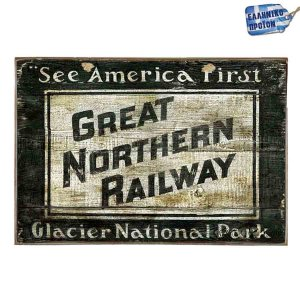 Great Northern Railway Vintage Ξύλινο Πινακάκι 20 x 30 cm