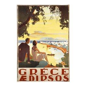 Grece Aedipsos Vintage Ξύλινο Ταμπελάκι 20 x 25 cm