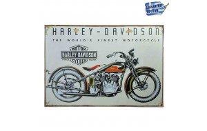 Harley Davidson-Vintage Ξύλινος  Πίνακας 20 x 25 cm