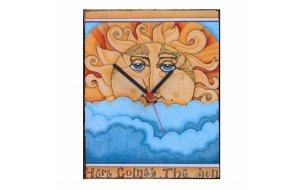 Here comes the sun - Ρολόι τοίχου χειροποίητο ξύλινο