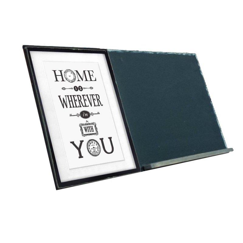 Home is Wherever I'm With You  Ξύλινος Χειροποίητος Μαυροπίνακας 38 x 26 cm
