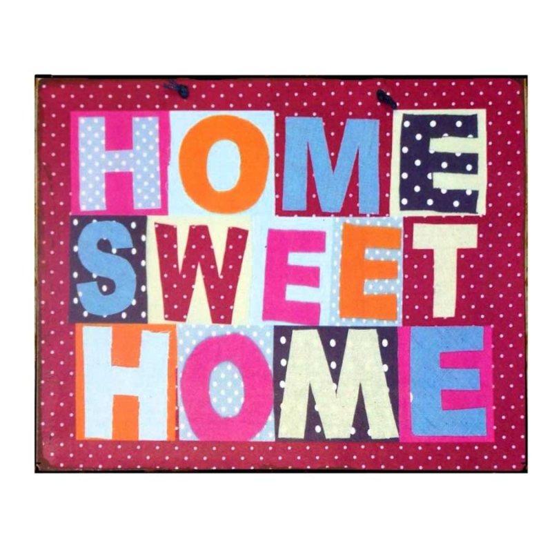 Home Sweet Home Πολύχρωμο Διακοσμητικό Πινακάκι