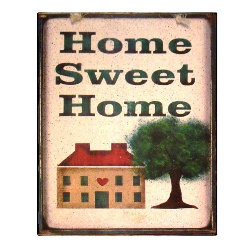 Home Sweet Home Χειροποιήτο Πινακάκι Σπίτι & Δέντρο